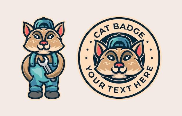 Kat met moersleutel en kattenbadge