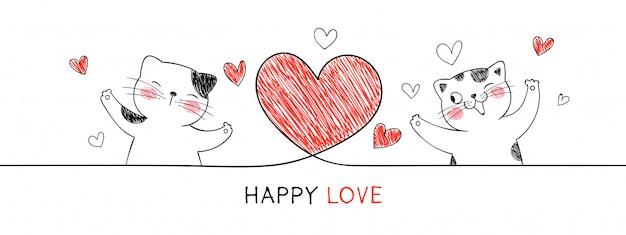 Kat met rood hart voor valentijnsdag.