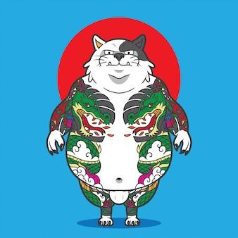 Kat met volledige lichaamstatoegering