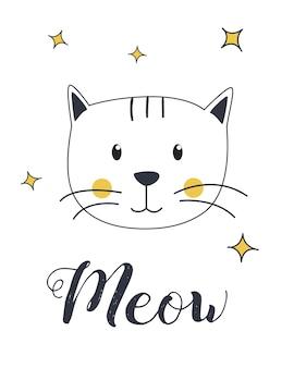 Kat miauw illustratie voor t-shirt en print ontwerp