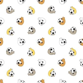 Kat naadloos patroon calico kitten cartoon voetbal
