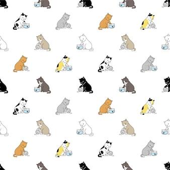 Kat naadloos patroon calico kitten vissenkom ras