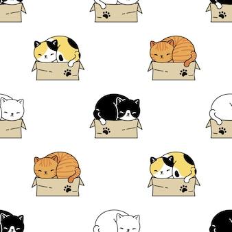 Kat naadloos patroon in een doosbeeldverhaal