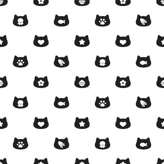 Kat naadloos patroon kitten calico hoofd cartoon