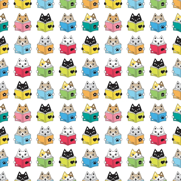 Kat naadloos patroon kitten leesboek