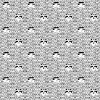 Kat naadloos patroon lapjeskatje japan wave