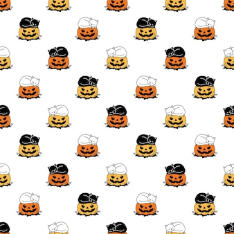 Kat naadloos patroon pompoen halloween kitten slapen