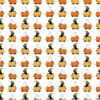 Kat naadloos patroon pompoen halloween kitten