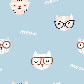 Kat naadloos patroon schattige kittens met een bril kinderkamerkarakters in een eenvoudige handgetekende hand