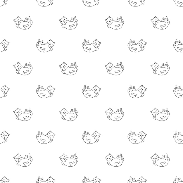 Kat naadloze patroon kitten calico huisdier doodle karakter cartoon