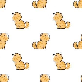 Kat naadloze patroon kitten cartoon huisdier illustratie Premium Vector