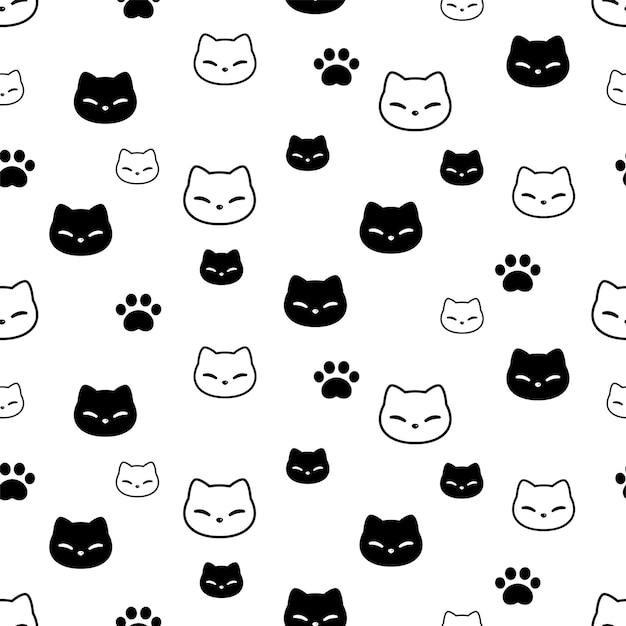 Kat naadloze patroon kitten hoofd poot voetafdruk