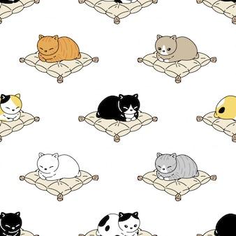 Kat naadloze patroon kitten kussen cartoon huisdier illustratie