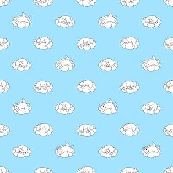 Kat naadloze patroon kitten slapen wolk stripfiguur