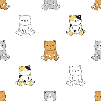 Kat naadloze patroon zittend calico kitten cartoon