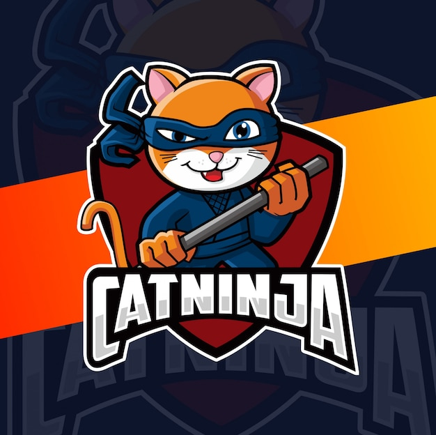Kat ninja mascotte logo ontwerp