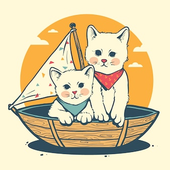 Kat op boot