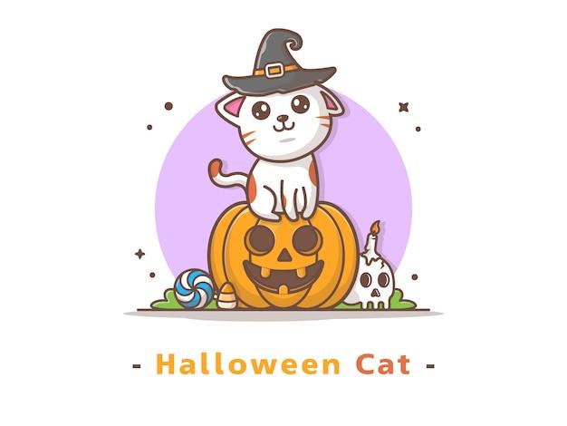 Kat op halloween-pompoen