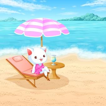 Kat op het strand