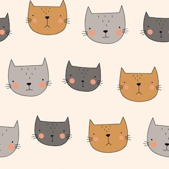 Kat plat hand getekend vector naadloze patroon schattige katten op beige achtergrond cartoon huisdieren
