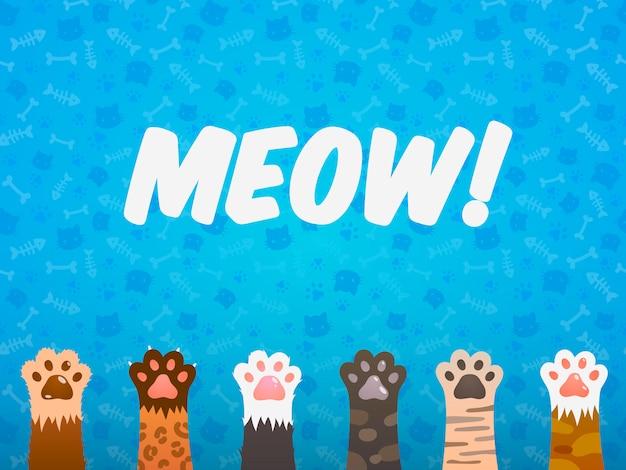 Kat poot platte achtergrond. katten cartoon huisdier poten, afdrukken kitten textuur, huisdieren onderdak vector poster