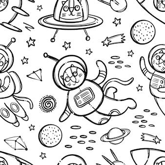 Kat ruimtepatroon zwart-wit schattig kosmisch dier dat reist in ruimtepak en in raket