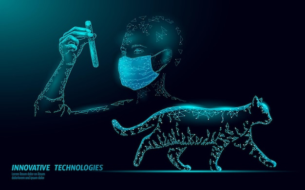 Kat silhouet veterinaire kliniek. analyse microscoop virusinfectie. dierenarts zorg medische hulp illustratie.