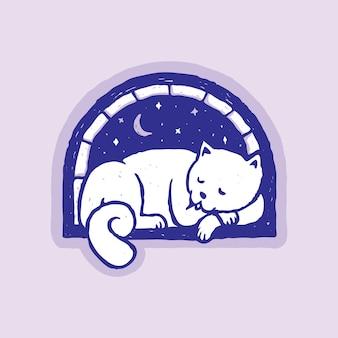 Kat slaap patch pin illustratie