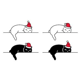 Kat slapende kerst kerstman pictogram karakter