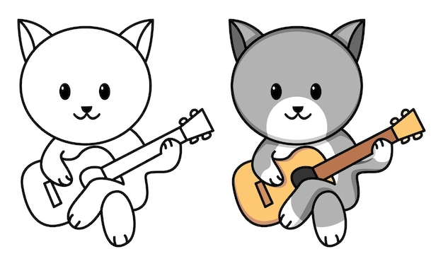 Kat speelt gitaar kleurplaat voor kinderen