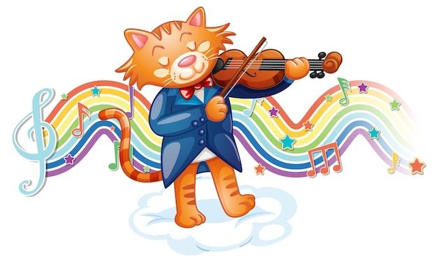 Kat speelt viool met melodiesymbolen op regenbooggolf