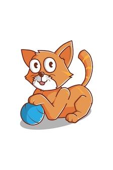 Kat spelen bal cartoon afbeelding