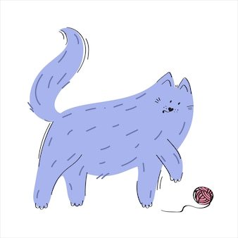 Kat spelen met een bal