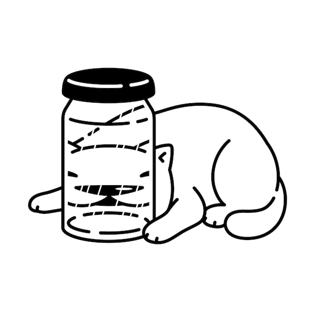 Kat stripfiguur calico kitten huisdier fles