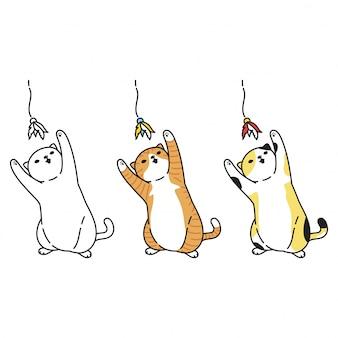 Kat stripfiguur kitten calico spelen speelgoed