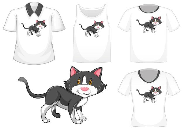 Kat stripfiguur met set van verschillende shirts geïsoleerd op een witte achtergrond