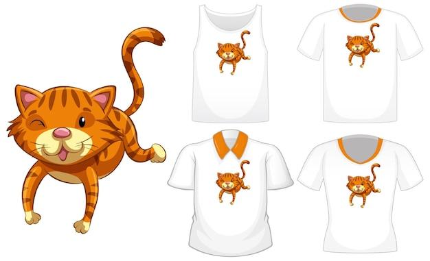 Kat stripfiguur met set van verschillende shirts op wit wordt geïsoleerd