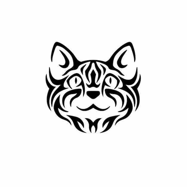 Kat symbool logo tribal tattoo design stencil vectorillustratie