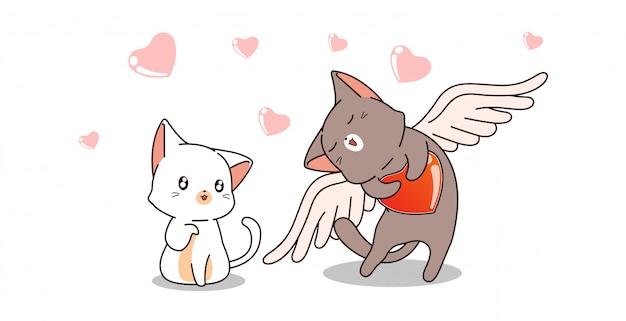 Kat van de banner houdt de schattige cupido van kat