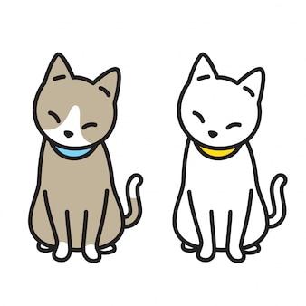 Kat vector kitten stripfiguur