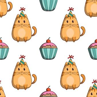 Kat verjaardagsfeestje met cupcake in naadloos patroon met gekleurde doodle stijl op witte achtergrond