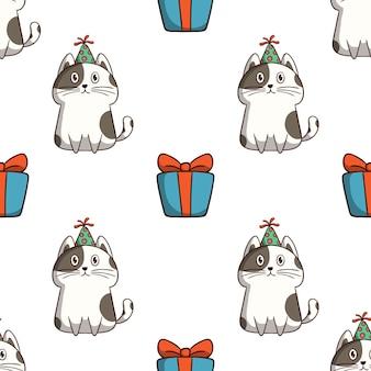 Kat verjaardagsviering met geschenkdoos in naadloos patroon met gekleurde doodle stijl op witte achtergrond