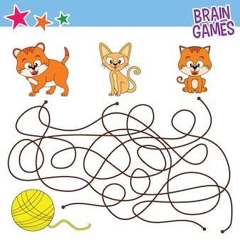 Kat vinden lijnspellen, afdrukbare kinderen activiteit