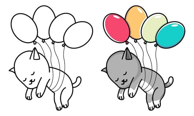 Kat vliegt met ballon kleurplaat voor kinderen