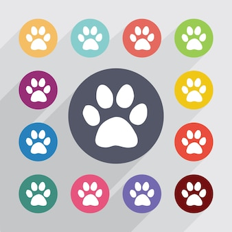 Kat voetafdruk cirkel, plat pictogrammen instellen. ronde kleurrijke knopen. vector