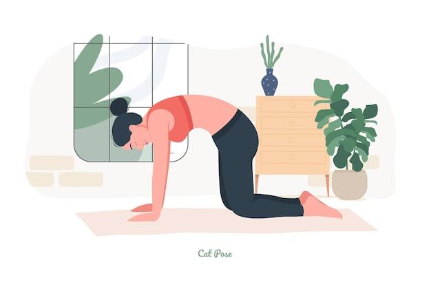 Kat yoga pose jonge vrouw die yoga-oefening beoefent