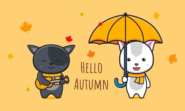 Kat zegt hallo herfst op banner kaart cartoon pictogram illustratie ontwerp geïsoleerde platte cartoon stijl