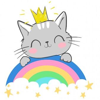 Kat zit op een regenboogillustratie