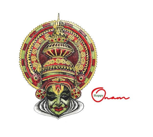 Kathakali gezicht met zware kroon versierd hand getrokken schets vectorillustratie