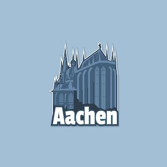 Kathedraal in de stad aken in zwart-wit, misschien op een magneet.
